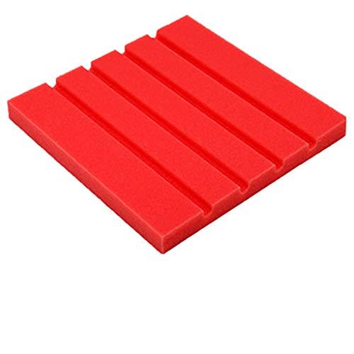 1PCS Akustikelemente Noppenschaumstoff Akustikschaumstoff Schwamm Breitbandabsorber Pyramide Isolierung Akustik Wand Schaumstoff Polsterung Studio Schaumstoff 25x25x2cm (Rot)