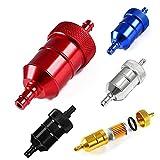 UVE - Filtro de gasolina de Aluminio Desmontable y Lavable. Para tubos de gasolina de 8mm. (Rojo)
