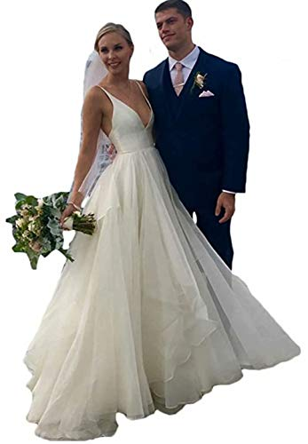 Rmaytiked V Neck A-line Beach Wedding Dresses for Bride Backless Satin Tulle Bridal Wedding Gowns for Women