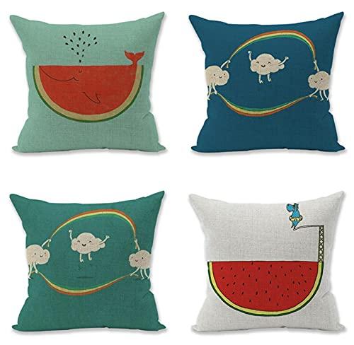 KaiXINSun Throw Pillow Cases Paquete De 4 Funda De Almohada De 18X18 Pulgadas Funda De Sofá Decorativa De Casa Cuadrada Cremallera Invisible 45X45Cm Sandía Arcoíris