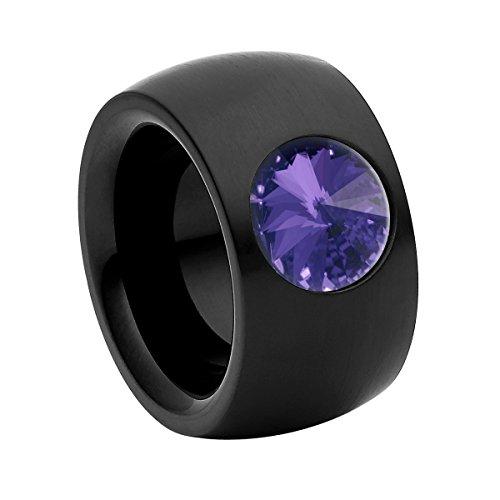 Heideman Ring Damen Coma 14 aus Edelstahl schwarz matt Damenring für Frauen mit Swarovski Stein Kristall tanzanite lila im Fantasie Edelsteinschliff 10mm
