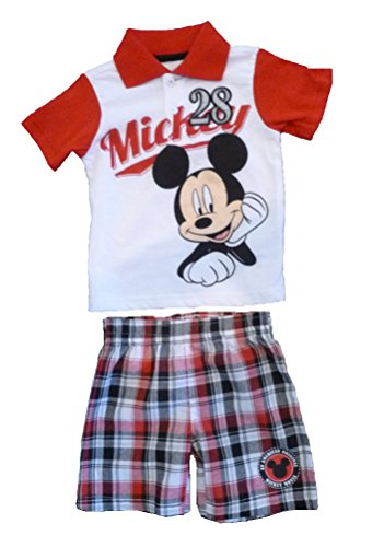 DIsney Baby Infant Toddler Boys Mickey Mouse Polo Shirt & Plaid Shorts Set (12 Months)