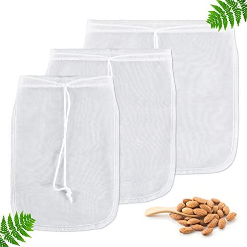 Yoassi 3 Pezzi Sacchetto Filtrante Borsa Latte Vegetale Sacchetto Filtro per Latte di Mandorle Sacca Multiuso Filtrante Riutilizzabile Colino per Latte di Noci,Frutta Secca