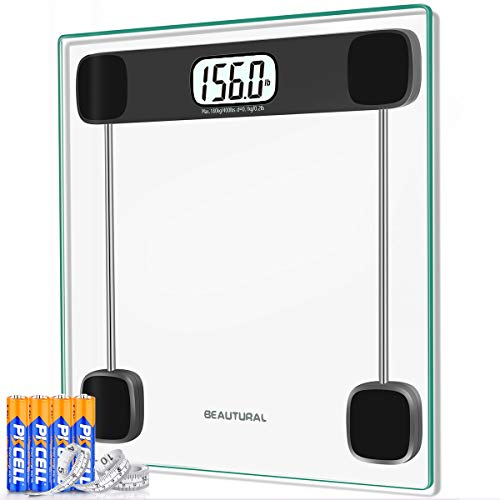 Beautural Digital Bathroom Scale for Body Weight, Bath Scale, Backlit LCD Display, 4 AAA Batteries and Tape Measure Included,400lb