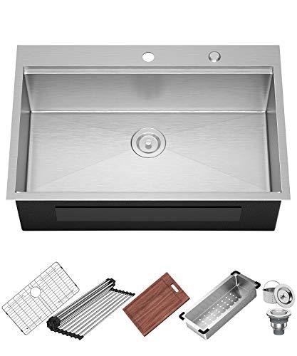 X Home 33x22 Inch Drop In Kitchen Sink, 16 Gauge Stainless Steel Top Mount Workstation Sink, Single Bowl Kitchen Sinks with All Sink Accessories