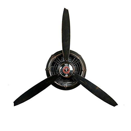 MKJYDM Wandbehänge, Pavillon Industrielle Wind Schmiedeeiserne Flache Propeller Dekorative Uhr, Geeignet for Wohnzimmer Personalisierte Shop Dekoration Wandskulptur