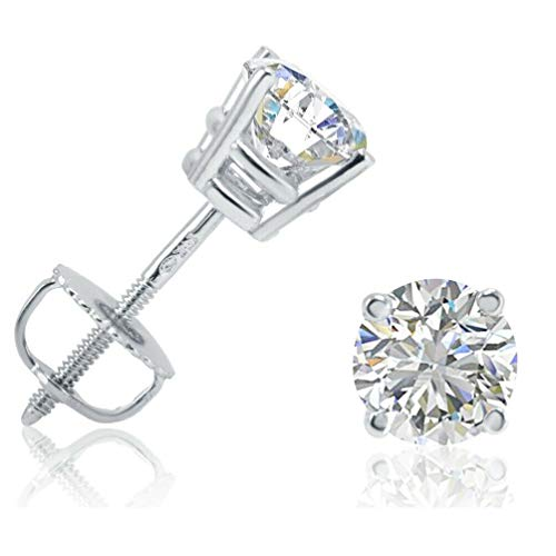 Diamond Stud Earrings with screw backs set in 14K White Rose or Yellow Gold with Alternate Round shape Diamonds (GHI,VS) for Womens, Teens or Men. Complimentary Appraisal Certificate