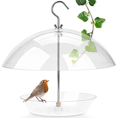 WILDLIFE FRIEND I Vogelfutterspender zum Aufhängen – Transparente Vogelfutterglocke, Vogel-Futterhaus, Futterspender aus Kunststoff I Futtersilo für Wildvögel – Ideal für Balkon & Garten