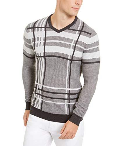 ALFANI MENS COTTON KNIT V-NECK 스웨터 회색 XL
