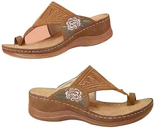 JHJUH Womens Clip Toe Flip Flops Slides Flower Embroidered Comfy Wedge Sandals Premium Orthopedic Sandals Vintage Anti-Slip Summer Peep Toe Beach Slippers,Brown,43