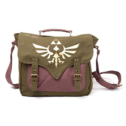 Legend of Zelda MB060223NTN - Bolsa Bandolera con logotip Triforce, de Tejido, Color Verde y púrpura