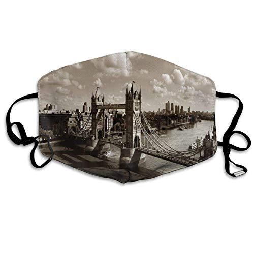 Tower Bridge in London City Bewölkter Himmel Altes historisches Stadtbild Nostalgie England Drucke Wiederverwendbare waschbare Gesichtsschutzhülle für den persönlichen Schutz