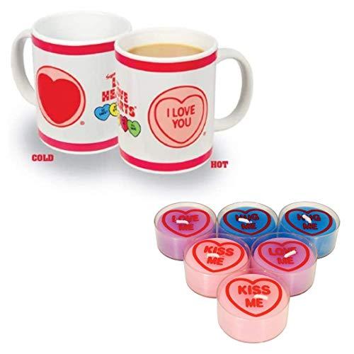 Swizzels Love Hearts - Taza de té aromática con diseño de corazón y corazón de amor, 1 taza y 6 velas de té