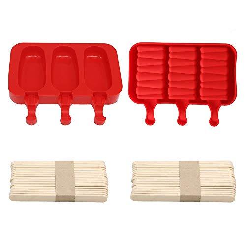 2 Stück Silikon-Eiscreme-Formen, Pop-Eis-Macher mit 60 Holzstäbchen.