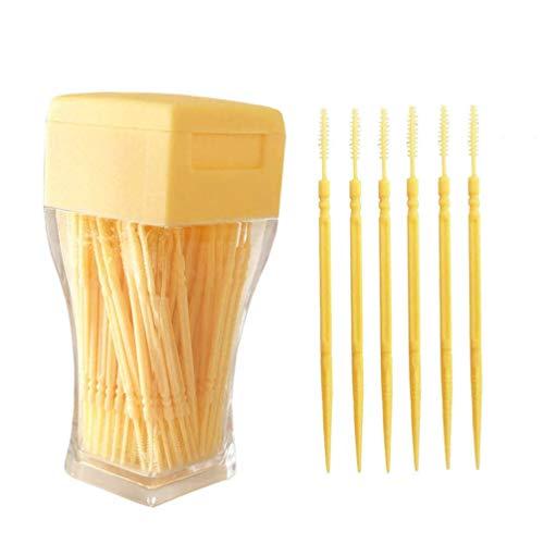 Supvox 200 stücke interdentalbürste zahnstocher doppelkopf kunststoff sichere zahnreinigung werkzeug für erwachsene frauen männer (hellgelb)