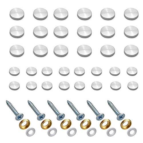 Qiundar Embellecedor Tornillos 40 Piezas Tornillo Espejo Tapa Clavos Acero Inoxidable Tornillos Decorativos Clavo Espejo,para Mesas con Espejo Platos de Baño Letreros de Vidrio (16 mm y 18 mm)