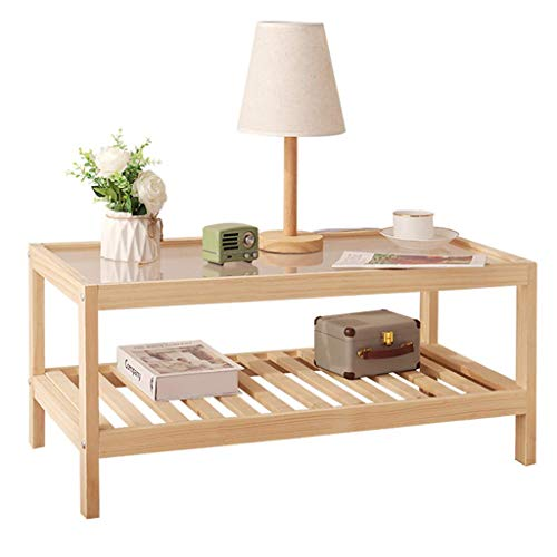 N/Z Tägliche Ausrüstung Glastisch Natürlicher Beistelltisch Holzhalterung Niedriger Tisch Einfaches Interieur Couchtisch Nachttisch Staub Real Design Bettsofa Wohnzimmer