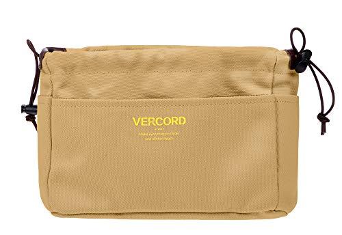 Vercord - Organizador de bolso de lona resistente, bolsa organizadora en bolsa, 13 bolsillos, 4 colores, 2 tamaños, Marrón (Caqui), Small