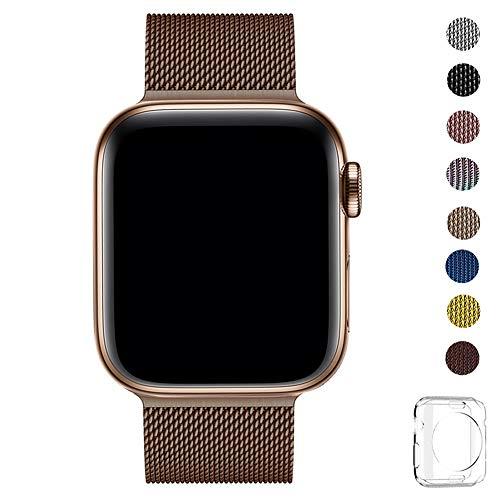 WFEAGL コンパチブル apple watch バンド, コンパチブルiWatch通用ベルト apple watch series 5/4/3/2/1に対応 交換ベルトステンレス製 (38mm 40mm, コーヒーの金色)