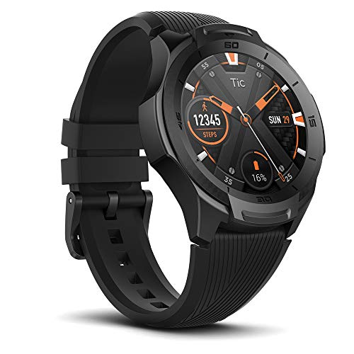 Ticwatch Mobvoi S2, Wear OS by Google Fitness Smartwatch for Outdoor Adventures, 5 ATM Waterproof and Swim-ready, Durable, Compatible with iPhone and Android-Midnight