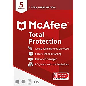 McAfee Total Protection 2022   5 Device   Antivirus Internet Security Software   VPN, Password Manager & Dark Web Monitoring Included   PC/Mac/Android/iOS   1 Year Subscription   Key Card