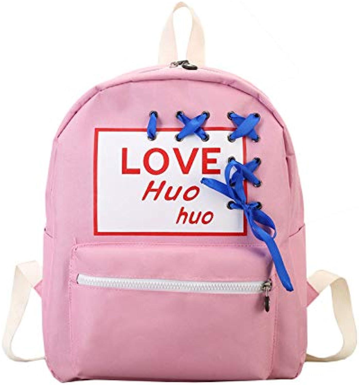 Backpack Fashion Wild College Wind Candy color Hole Wear Ribbon Hit color Letter Printing Label Shoulder Bag Bag,D