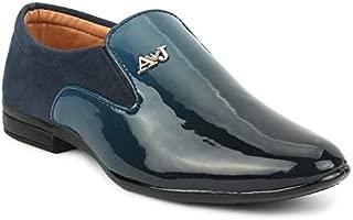 Tik-Tok Shoes Boys/Kids Blue Half Patent Synthetic Leather loffer Shoes