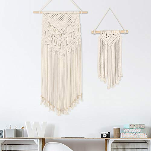 GoMaihe 2 Pcs Makramee Wandbehang, Kleine Kunst Gewebte Wanddeko Boho Chic Home Deko Apartment Geschenke Apartment Schlafsaal Raumdekoration, 72cm (L) x 31cm (W) and 33cm (L) x 12cm (W), MEHRWEG