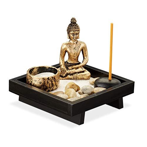 Relaxdays Zen Garten, mit Buddha, Steinen, Sand, Räucherstäbchen & Teelichthalter, Entspannung, Feng Shui Deko, schwarz, 1 Stück