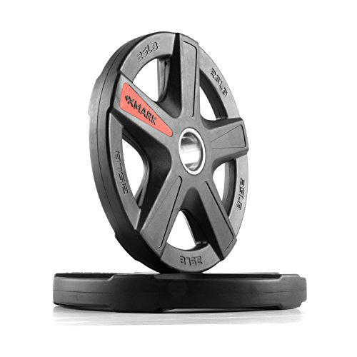 XMark TEXAS STAR 25 lb Pair Olympic Plates, Patented Design, One-Year Warranty, Olympic Weight Plates