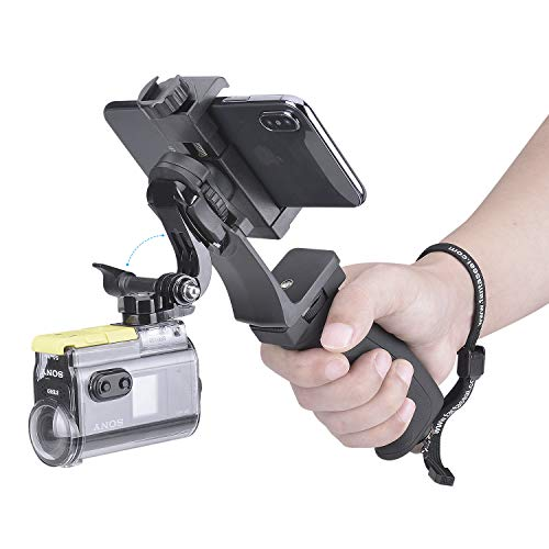 2in1 Tragbar Action Kamera + Handy Video Kit Ergonomischer Handgriff Stabilisator Motion Camcorder Griff Handheld We-Media Youtube Livestream Vlog Rig Halterung für GoPro Sony DJI OSMO Action + Handy