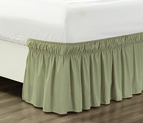 Wrap Around 21' inch Long Fall SAGE Green Ruffled Elastic Solid Bed Skirt Fits All Twin, Twin XL and Full Size Bedding High Thread Count Microfiber Dust Ruffle, Soft & Wrinkle Free.