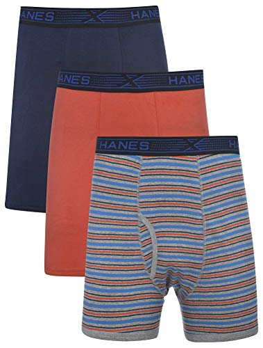 Hanes Men's 3-Pack Tagless 100% Cotton Boxer Briefs with X-Temp and FreshIQ Technology - Extended Sizes Navy/Orange