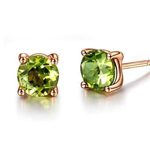 Beydodo Pendientes Para Mujer Oro Rosa Verde,Pendientes Oro Rosa 18k Redondo con 4 Garras Peridoto Verde 1.1ct