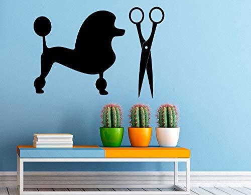 ganlanshu Niedliche Haustier Schönheitssalon Wandtattoo Schere Tierhandlung Innen Kunst Wandbild entfernbare Kinderzimmer Wandaufkleber Vinyl 90cmX63cm