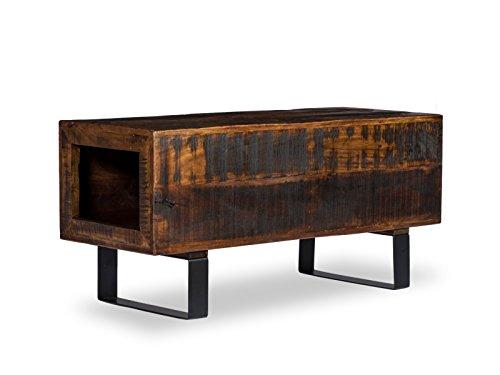 Woodkings® Sitzbank Woodend, Akazie massiv, Flurmöbel Vintage, Schuhschrank, Dielenschrank, Holzbank