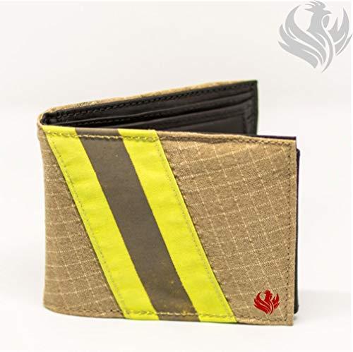 Roter Hahn 112 Feuerwehr Geldbörse/Gold-M/Portemonnaie Geldtasche Portjuchhe Brieftasche Geldbeutel / 125 x 95 x 20 mm/Original gebrauchter Feuerwehrkleidung