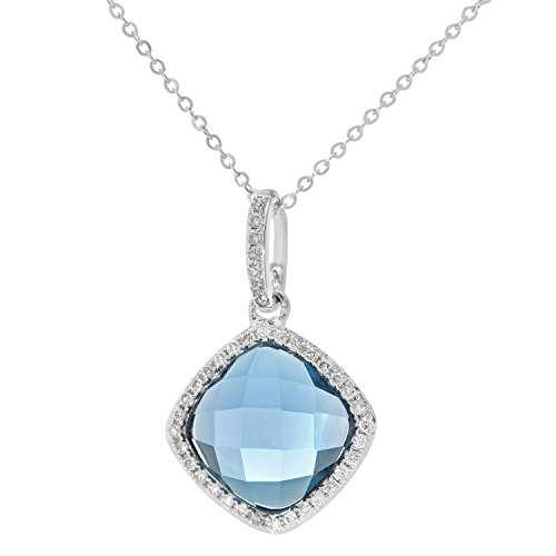 Naava Women's 9 ct White Gold Diamond and 2.65 ct Cushion Cut Blue Topaz Gemstone Pendant with Chain Necklace of Length 46 cm