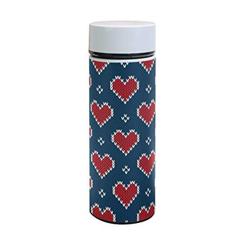 Lafle Knit Pattern con cuori in acciaio inox e silicone alimentare grande thermos stampa tazza e lavato sottovuoto strato tazza con coperchio a vite 350 ml