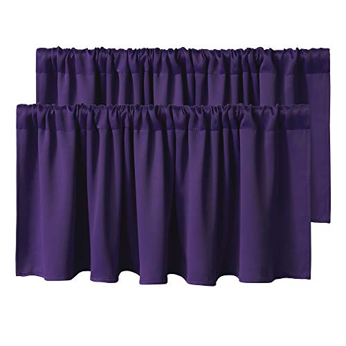 WONTEX Kitchen Curtains Valances, 42 x 18 inch Long, Purple, Set of 2 Pieces - Short Thermal Blackout Curtains for Small Window, Room Darkening Rod Pocket Cafe Curtain Panels
