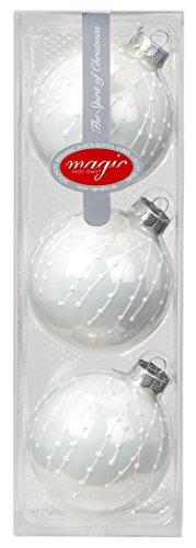 Lot de 3 boules de Noël Noble White - 8 cm - Moderne - Blanc - Paillettes