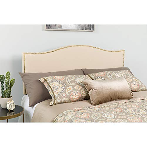 Flash Furniture Lexington Upholstered Queen Size Headboard with Accent Nail Trim in Beige Fabric
