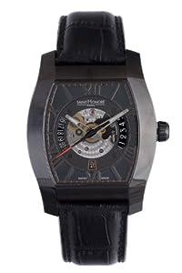 Saint Honore Men's 880092 7NRFO Monceau Automatic Tonneau Black PVD Leather Exhibition Watch