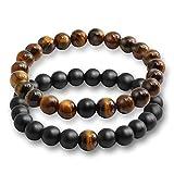 Belons - Ensemble de 2 bracelets extensibles avec perles en œil-de-tigre et agate noire mate de 8mm de diamètre