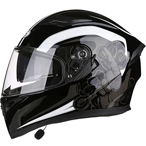Casco de Motocicleta con Bluetooth, Casco de Moto Bluetooth a Prueba de Viento para Adultos Certificación ECE/DOT con Visera Solar Dual y Altavoces Duales E,XL=60~61CM