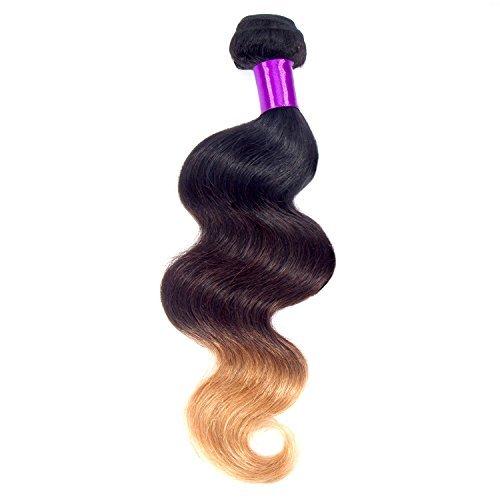 45,7 cm cheveux humains vierges, reine Star Tissage Ombre cheveux Extension de cheveux brésiliens Virgin Hair Body Wave Lot de 100 g/Bundle trame de cheveux Grade 6 A, non Ombre Couleur 1B/4/27