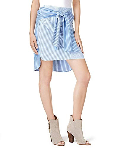 bar III Womens Tie-Front High-Low Pencil Skirt Blue M