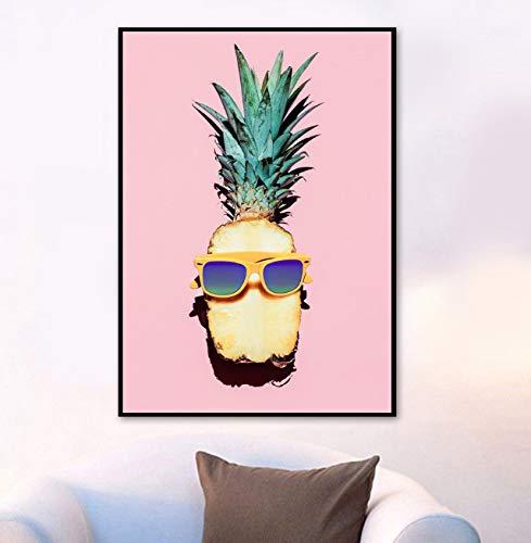 tgbhujk Pintura al óleo Moderna Gafas de Sol piña Pintura de Arte de Pared Carteles nórdicos e Impresiones Sala de Estar Dormitorio Mural decoración del hogar 50X75cm sin Marco