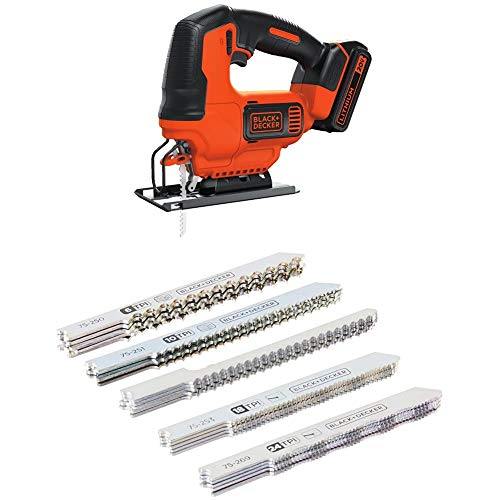 BLACK+DECKER 75-626 Assorted Jigsaw Blades Set, Wood and Metal, 24-Pack with BLACK+DECKER BDCJS20C 20V MAX JigSaw with Battery and Charger w/ Extra Wood + Metal Jig Saw Blades