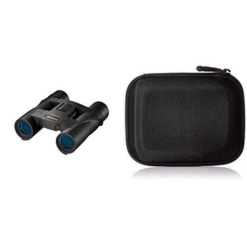 Nikon Aculon A30 Fernglas (10-Fach, 25mm Frontlinsendurchmesser) schwarz und Amazon Basics Festplattentasche, schwarz